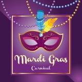 Folleto de Mardi Gras Logotipo del vector con poner letras exhausto de la mano y la máscara de oro de martes Tarjeta de felicitac stock de ilustración