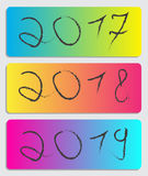 2017-2018-2019 folleto del año Imagenes de archivo