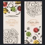 Folleto del café del menú de la comida de la pizza plantilla del dibujo Fotos de archivo libres de regalías