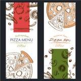 Folleto del café del menú de la comida de la pizza plantilla del dibujo Fotografía de archivo libre de regalías