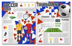 Folleto del club del fútbol del club del equipo de fútbol del vector stock de ilustración