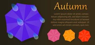 Folleto del otoño con los paraguas y los descensos del agua stock de ilustración