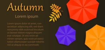 Folleto del otoño con tres paraguas ilustración del vector