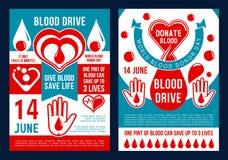 Folleto del vector para el día del donante de sangre del mundo stock de ilustración
