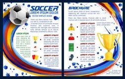 Folleto del vector para el partido de fútbol del fútbol ilustración del vector