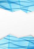Folleto geométrico del azul de la frontera de la onda de Swoosh jpg Imagen de archivo libre de regalías