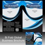 Folleto global del doblez del BI Foto de archivo libre de regalías