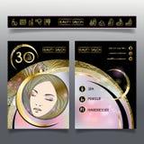 Folleto-plantilla del negocio para los salones de belleza y hairdressing_4 Imágenes de archivo libres de regalías