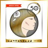 Folleto-plantilla del negocio para los salones de belleza y hairdressing_7 Fotos de archivo libres de regalías