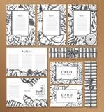 Folleto, tarjeta de presentación y labal del restaurante del menú stock de ilustración