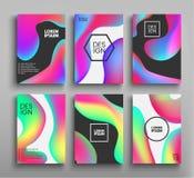 Folletos líquidos del color, carteles fijados Colores flúidos Vector los carteles futuristas de las plantillas, prospectos, fondo Foto de archivo libre de regalías