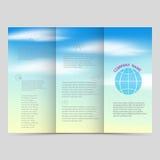 Folletos triples, plantillas cuadradas del diseño Disposición hermosa del cielo azul, ejemplo del vector ilustración del vector