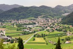 Follina Village in the Prosecco Wine Region. Village of Follina seen from Castelbrando, in the wine Prosecco region, Italy royalty free stock images