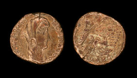 Follis coin from Roman empire. Copper follis depicting portrait of Constantinus I and Quadriga stretching right after the Manus Dei, 337-347 AD, Antioch mint Royalty Free Stock Images