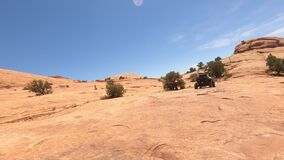 Folloing UTV steep rock trail Moab Utah POV 4K