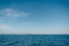 Follonica, Tuscany, Italy, view from the sea. Follonica, Tuscany, Italy, panoramic view from the sea stock image