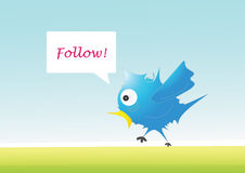 Follow. A blue illustrated bird with speech bubble Stock Photos