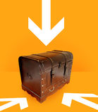 Follow the arrow to win. Chest of gold on orange background, with white arrow who indicate the way to follow Royalty Free Stock Photo
