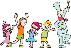 Follow The Chef. Children dance in a line following the chef to lunch Royalty Free Stock Photo