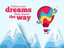 Follow dreams paper art hot air balloon concept Stock Photography