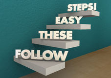 Follow These Easy Steps Directions Lesson Learning. 3d Illustration royalty free illustration