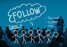 Follow Following Teamwork Member Leader Concept Stock Photos