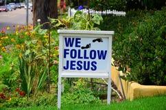 We follow Jesus foot prints Royalty Free Stock Images