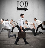Follow the job arrow. Fear of the job Stock Images