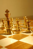 Follow the leader 2. Pewter chess pieces royalty free stock image