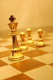 Follow the leader. Pewter chess pieces stock photography