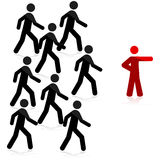 Follow the leader. Concept illustration showing a red man pointing forward and a group of people following Royalty Free Stock Images