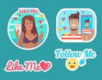 Follow and Like Me Bloggers Male and Female Vector vector illustration
