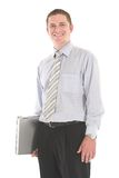Follow me. Smiling businessman carrying laptop over white backdrop Stock Photography