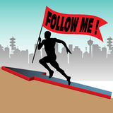 Follow me. Abstract colorful background with athlete silhouette running up on a hill and holding a red flag on which is written follow me Royalty Free Stock Photography