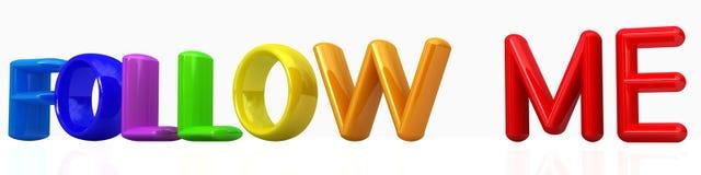 follow me 3d colorfal text Stock Images