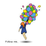 Follow me art. Follow me hand drawn vector illustration Royalty Free Stock Image