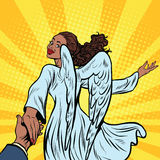 Follow me, beautiful angel girl, African American people. Pop art retro illustration. Religion and carnival royalty free illustration