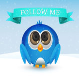 Follow me bird on snow Royalty Free Stock Image