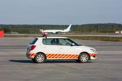 Follow me car is waiting aircraft Stock Photos
