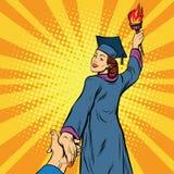 Follow me, education university knowledge woman Royalty Free Stock Image