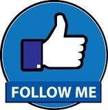Follow-me facebook Knopfvektor stock abbildung