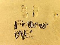 Follow Me footprints Royalty Free Stock Photography