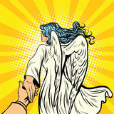 Follow-me, Frauenengel mit Flügeln Stockfoto