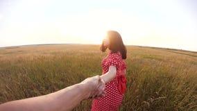 Follow-me hübsches Porträt Brunettemädchen geht mit einem Mann durch die Hand auf Naturfeld Romanceliebe Lebensstil Zeitlupe stock footage