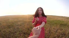 Follow-me hübsches Porträt Brunettemädchen geht mit einem Mann durch die Hand auf Naturfeld Romanceliebe Zeitlupevideo stock video