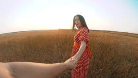 Follow-me hübsches Porträt Brunettemädchen geht mit einem Mann durch die Hand auf Naturfeld Romanceliebe Zeitlupevideo stock video footage