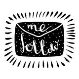 Follow me letter. Handwritten icon. Blog banner Royalty Free Stock Images