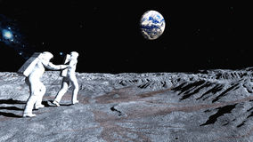 Follow me on the Moon Stock Image