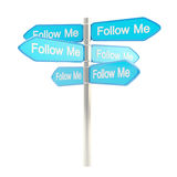 Follow me roadsign post metaphore as signpost Royalty Free Stock Photography