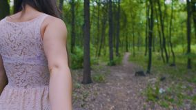 Follow-me shot on woman leading man in forest, female smiles on follow me shot. Stock footage stock footage